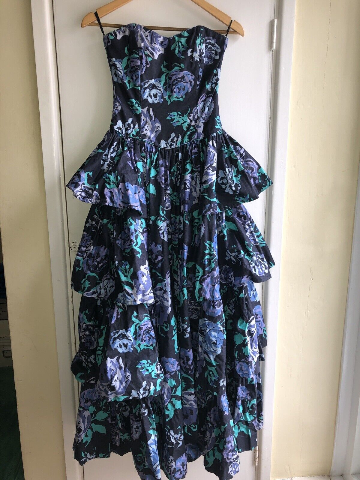 Laura Ashley Vintage 80's Boned Waterfall Dress Ball Gown Blue Floral Fabulous!
