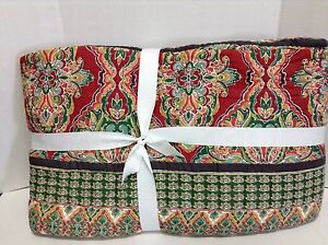 Pottery Barn Harlow Bed Quilt Comforter Cal King Red White