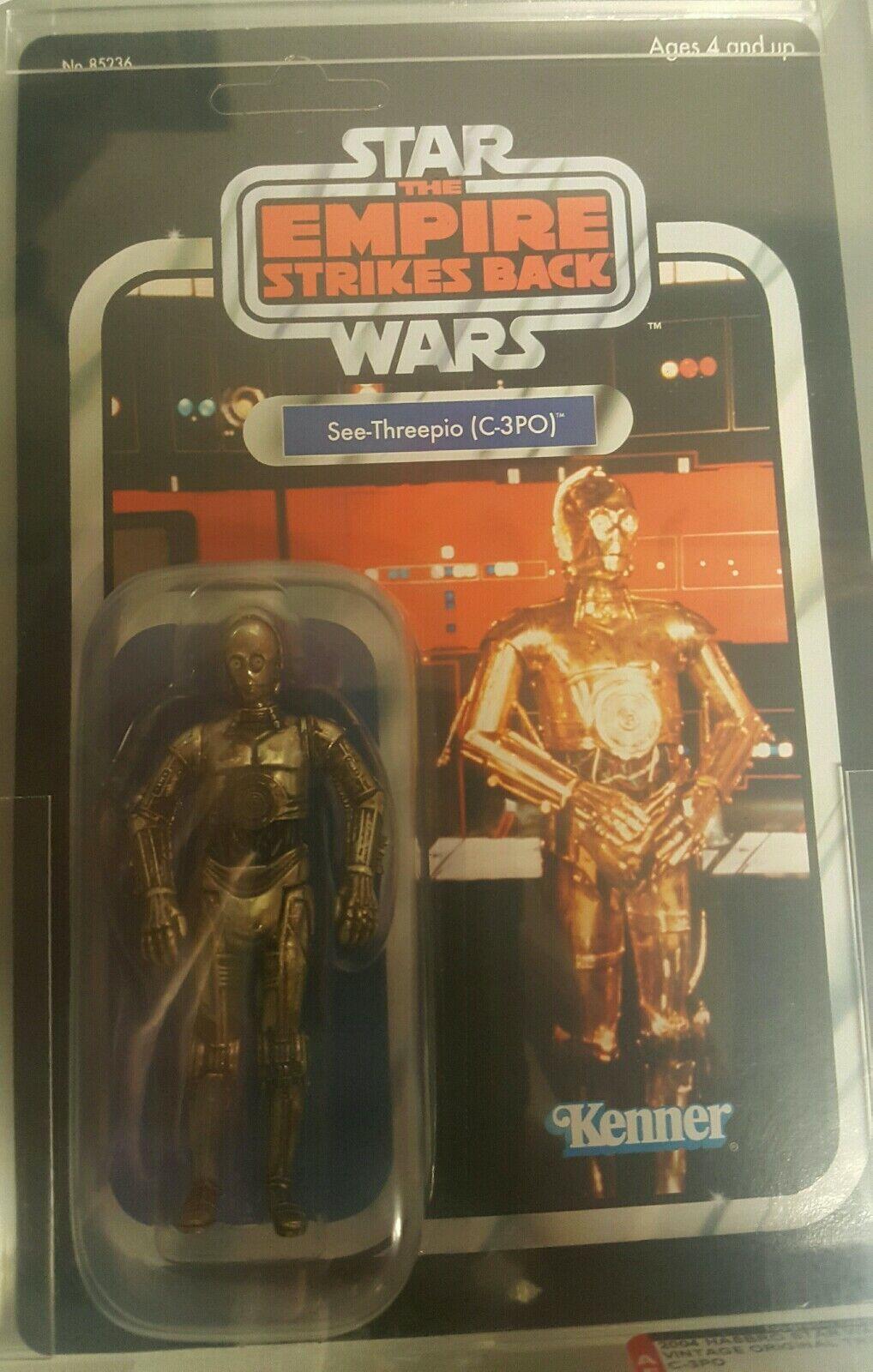2004 Trilogie Star Wars figurine Autorité classé C-3PO 85NM+ non perforé Comme neuf on Card