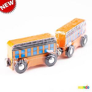 Lot-of-2-Melissa-amp-Doug-Orange-Wooden-Toy-Double-Decker-Train-Car-Magnet-ZP1109