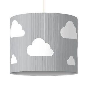 Grauer Lampenschirm Fur Kinderzimmer Motiv Wolken Design Hangelampe