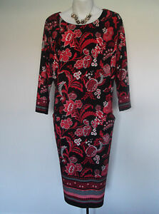 NEW-with-TAG-M-amp-Co-Red-Black-Abstract-Floral-Design-Pencil-Dress-18