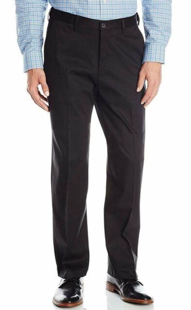 Haggar Mens pants Premium No Iron Khaki Black Big Tall flat front US 44W X 32L