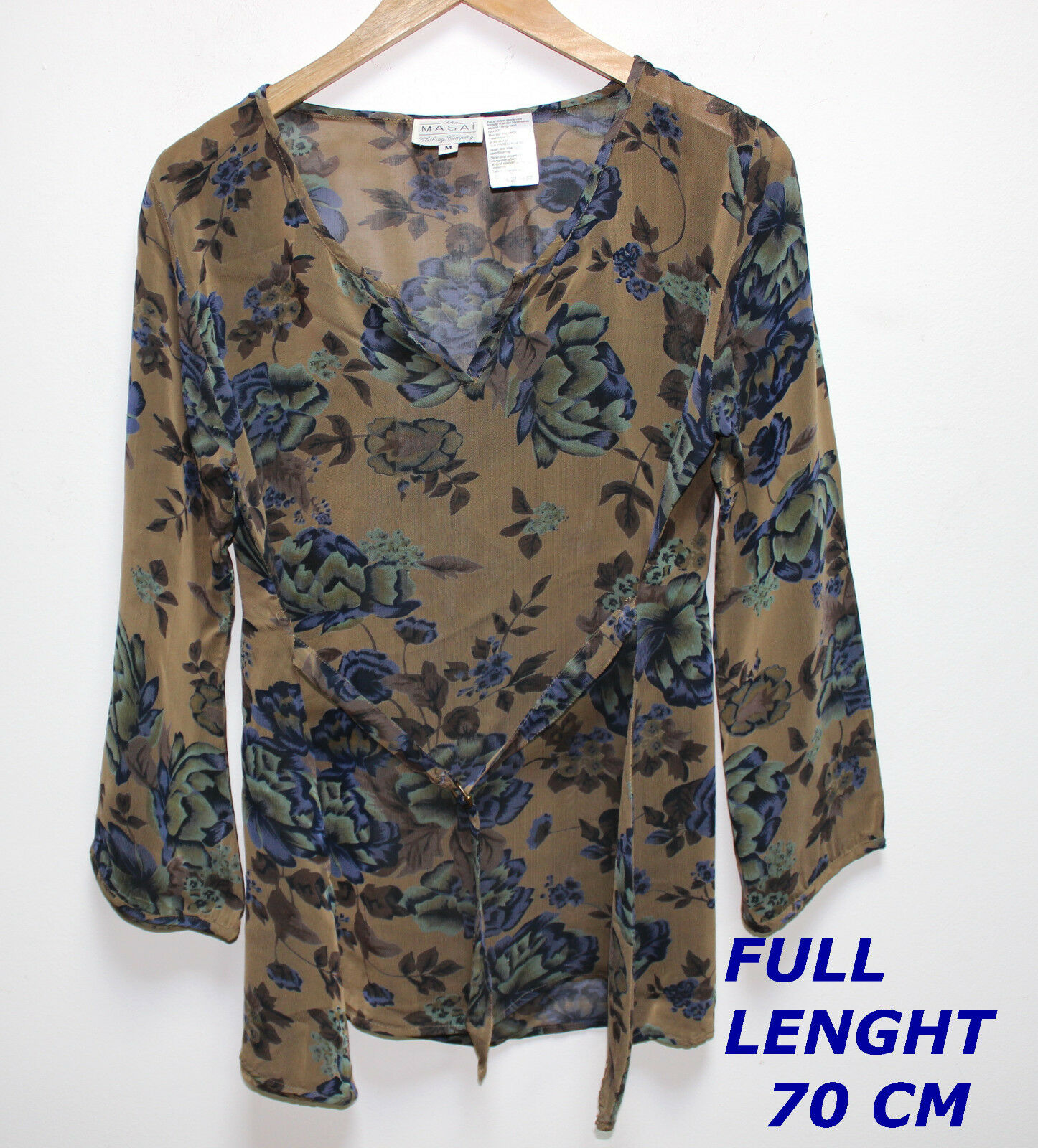 THE MASAI CLOTHING CO  LADY WOMAN BLOUSE SHIRT LONG SLEEVE MARKED SIZE M FLORAL