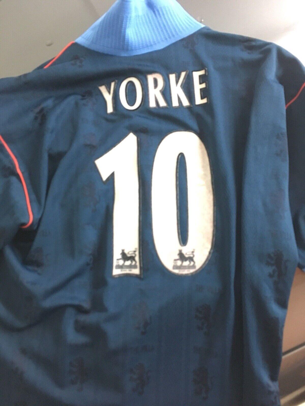 Aston Villa 199798 Yorke 10 Maglia Reebok  SHIRT WORN MATCH ISSUED Patch Away L