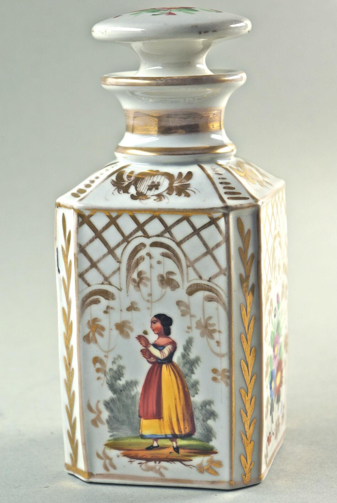 Belle ancienne boite thé, porcelaine carafe, florales décor, peintes à la main, Chartreuse.