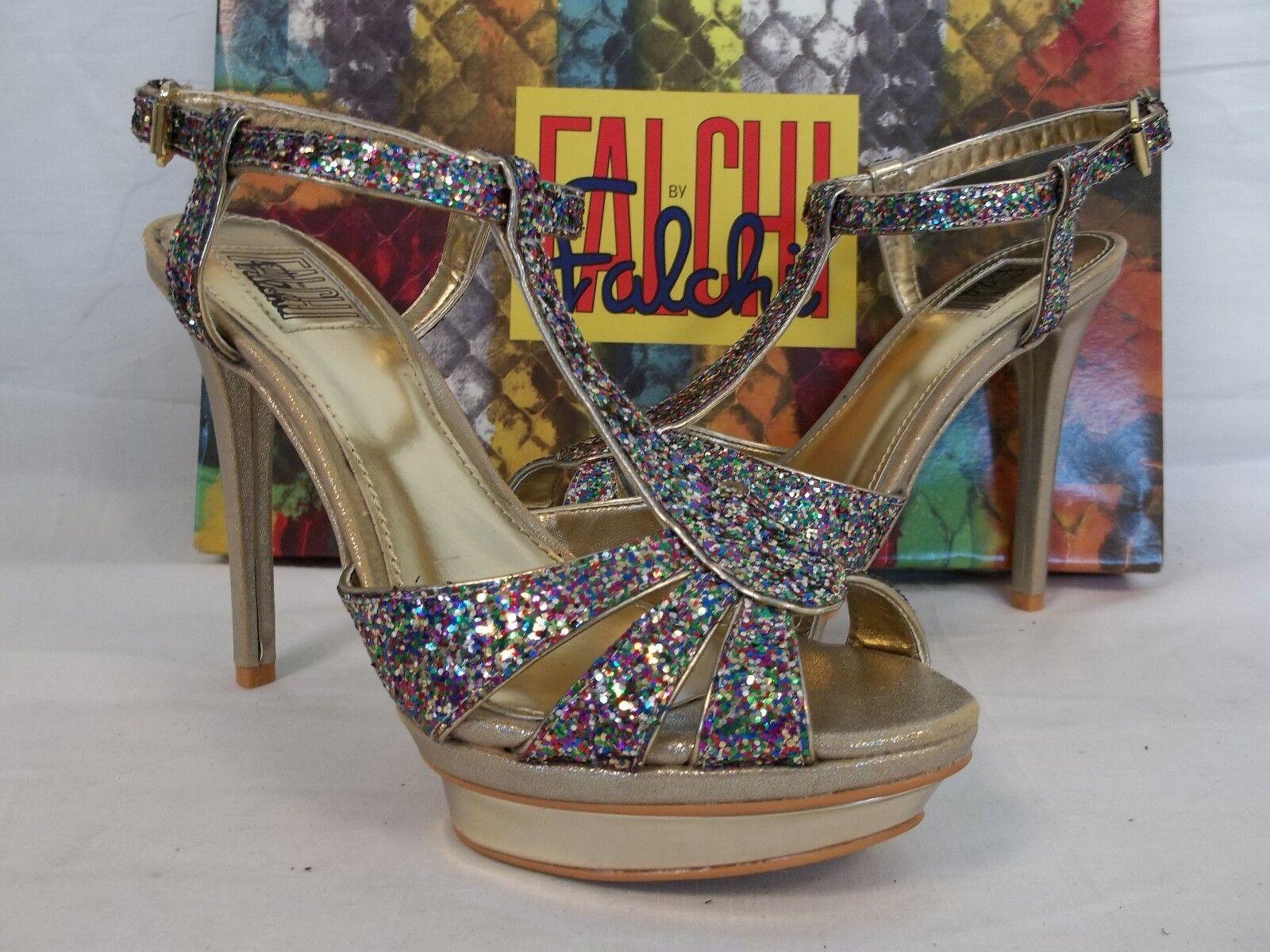 Falchi Größe 9 M Natalie Light Gold Multi  Open Toe Heels NEU Damenschuhe Schuhes