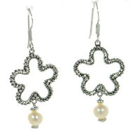 Joseph Esposito Solid 925 Sterling Silver Pearl Drop Clover Earrings '