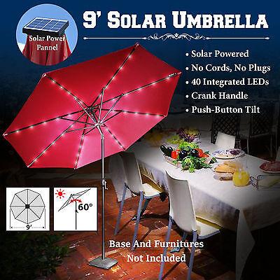9 Solar 40led Patio Umbrella Garden Outdoor Sunshade Alu