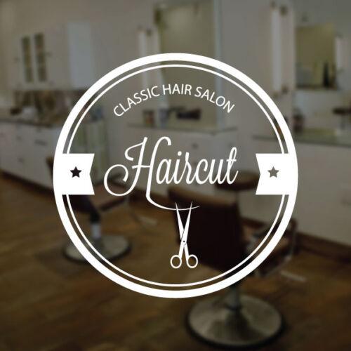 Haircut Classic Hair Salon Barber Shop Vinyl Sign Sticker