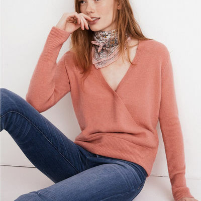 Madewell Womens Wrap-Front Pullover Sweater Casual Long Sleeve Knit Tops $80 NWT