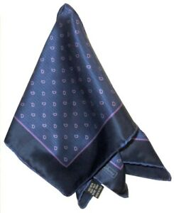 NEW-BRIONI-BLUE-HAND-ROLLED-100-SILK-POCKET-SQUARE-READ-ENTIRE-DESCRIPTION