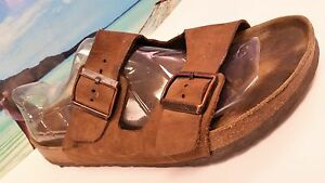 BIRKENSTOCK-BETULA-MEN-039-S-SZ-12-BROWN-LEATHER-BUCKLE-Strap-Sandals