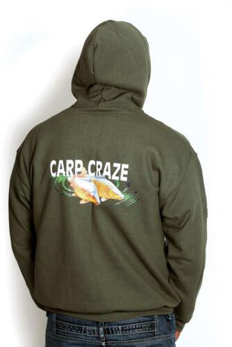 CARP CLOTHING CARP CRAZE MILITARY GREEN FISHING HOODIE CARP LOGO FRONT /& BACK