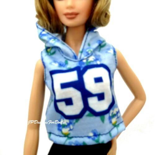 Barbie fashioniste Blu Floreale 59 Felpa Con Cappuccio Top Nuovo
