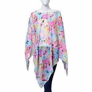 15205139d Details about PINK SEAFOAM GREEN FLOWER LADIES PONCHO 100% POLYESTER LIGHT  DELICATE OSFM