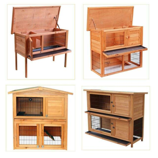 Merax Wooden Rabbit Hutch With Ramp Wood Bunny House Cage For Sale Online Ebay