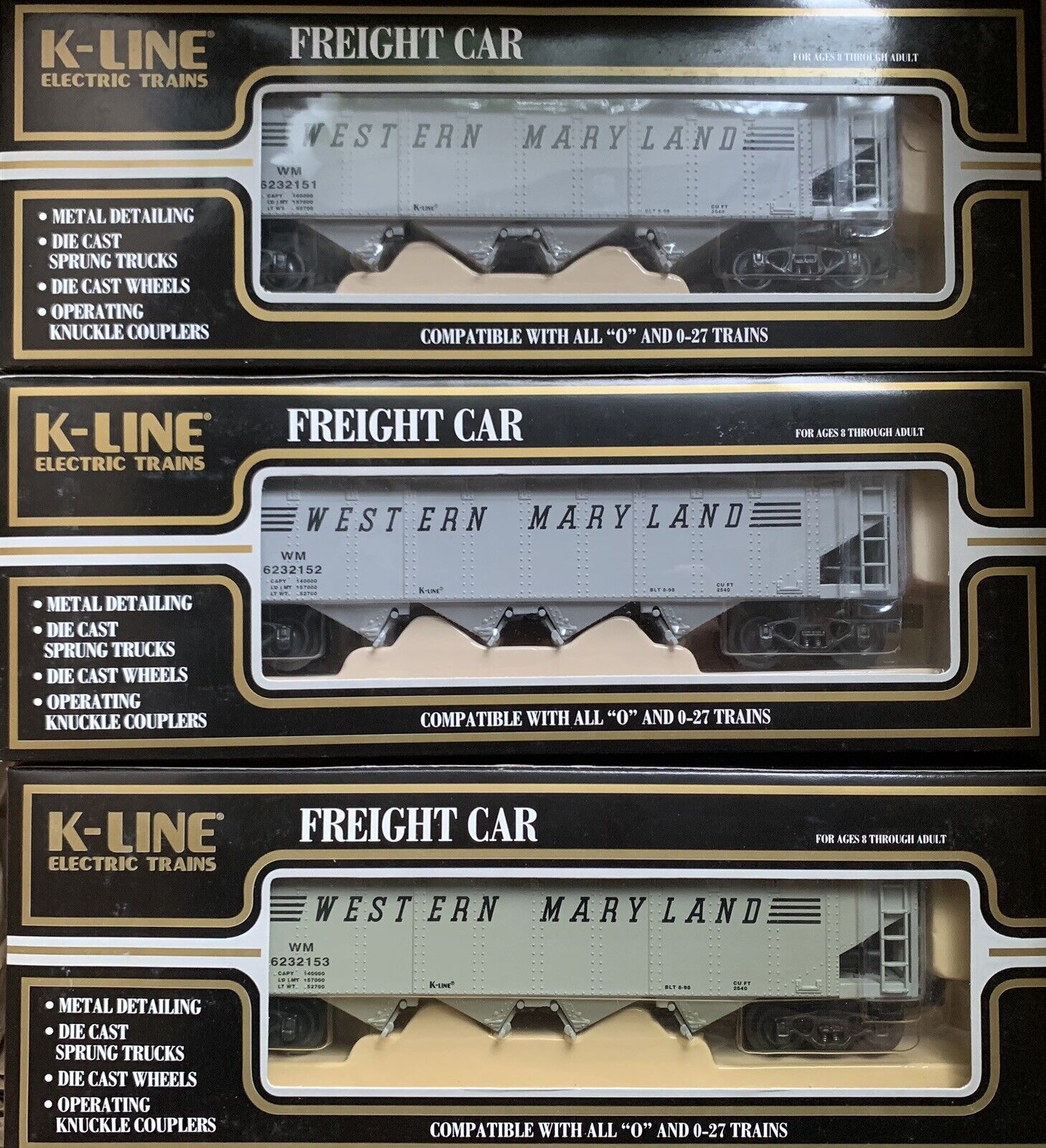 K-LINE DIE CAST WESTERN MARYLe MARYLe MARYLe COAL HOPPER 3 auto SET nuovo FOR LIONEL MTH TRAIN 6d155b
