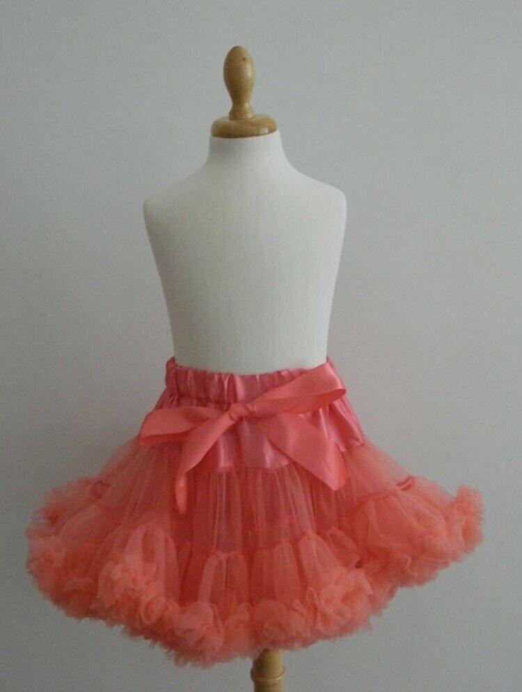 Girls Extra Fluffy Tutu Salmon Pink Size 2-4 Years