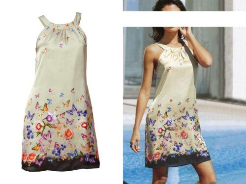 HEINE B.C.-Top & Trendy  Satin-Kleid-Sommerkleid-beige/bunt-Gr.36/38/44