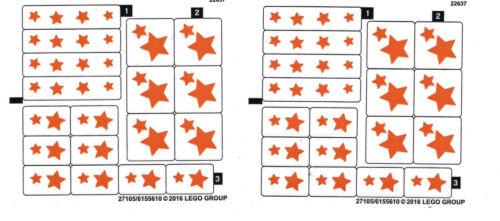 LEGO 2 x original Sternen Aufkleber für Set 44028 Geoffrey NEUWARE