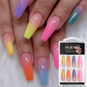false fake nails medium coffin french nail art gel acrylic