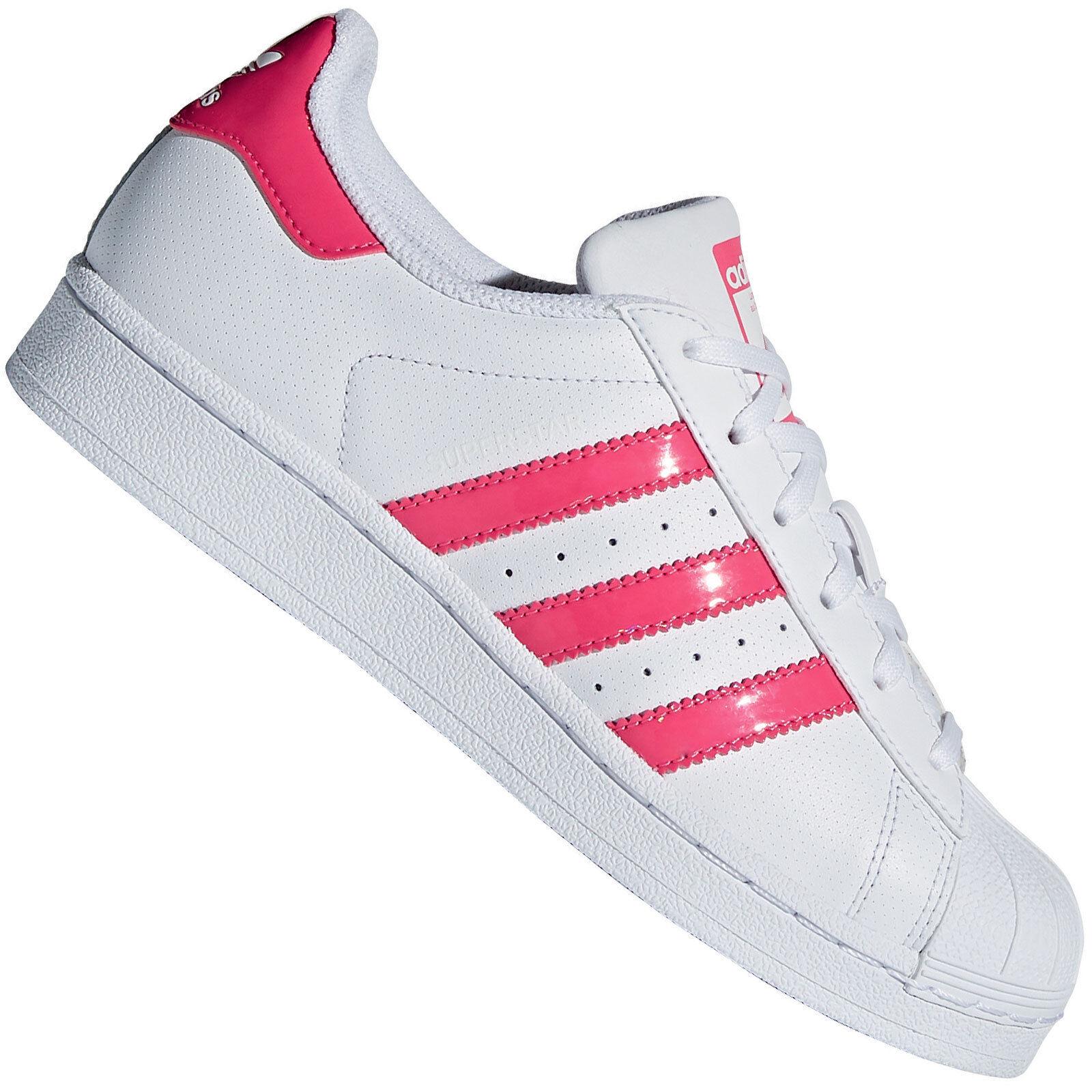 Adidas Originals Superstar J Damen-Turnschuhe Turnschuhe Kinder Weiß Rosa Vintage Flut Schuhe