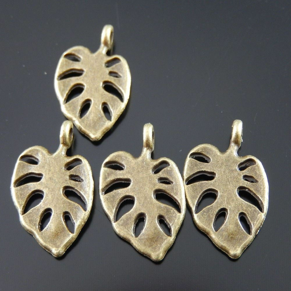 17 pcs Antiqued Bronze Alloy Bird Feather Charms Pendant Craft Findings 02065