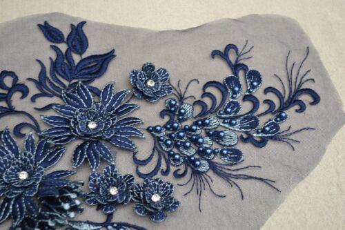 Evening Dress DIY Lace Applique Beaded Floral Trim Embroidery Costume Motif 1 PC