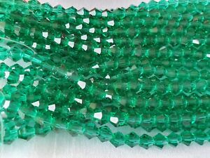 Joblot-of-10-strings-Dark-Green-6mm-bicone-shape-Crystal-beads-new-wholesale