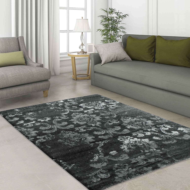 Designer MODERN di alta qualità tappeto Antique Ornament Nero Öko Tex trasla dimensioni
