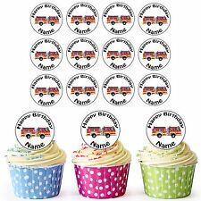 Cartoon Fire Engine 30 Personalised Pre-Cut Edible Birthday Cupcake Toppers
