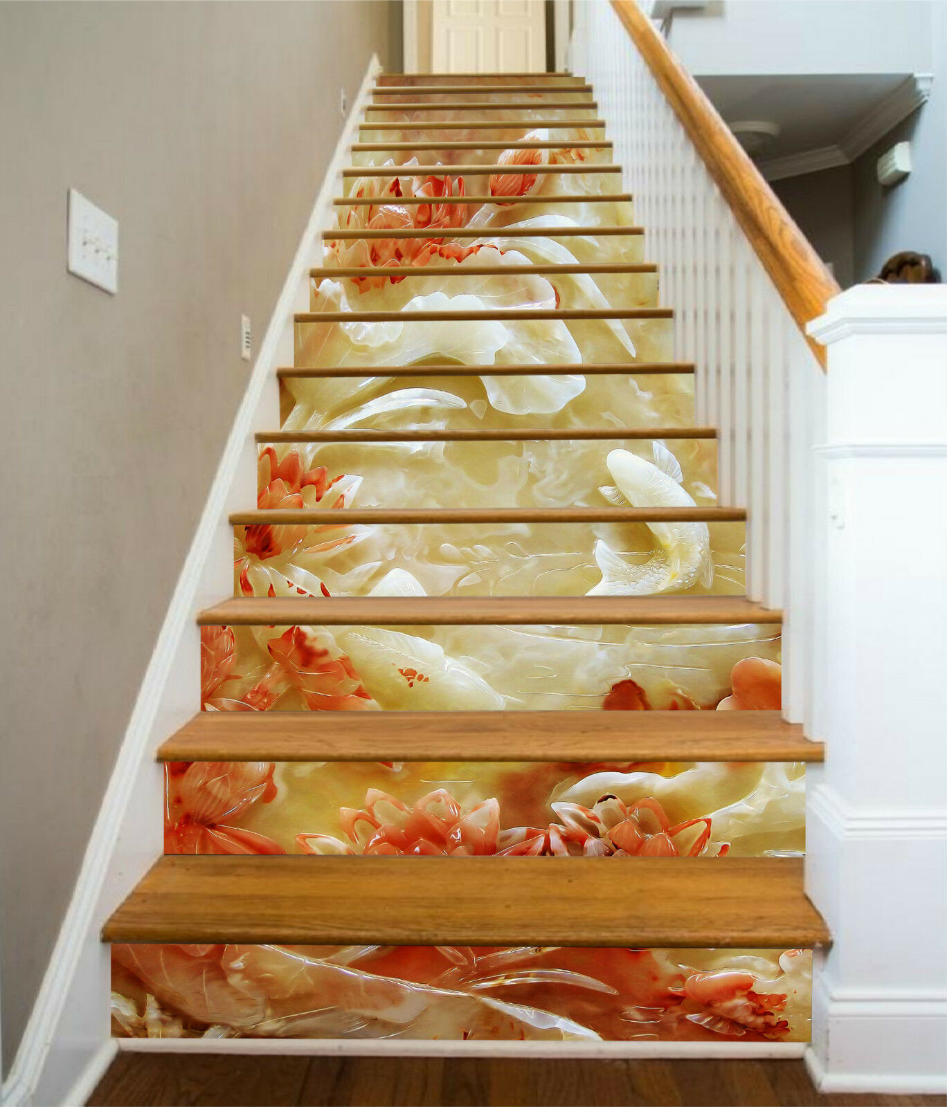 3D Lotus Karpfen 94 Stair Risers Dekoration Fototapete Vinyl Aufkleber Tapete DE