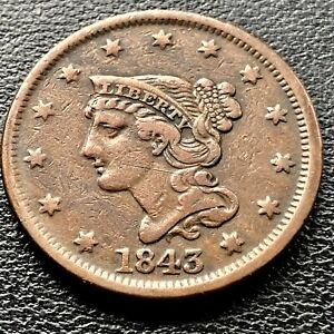 1843 Large Cent Braided Hair 1c High Grade XF ** Petite Head Small Letters #8349