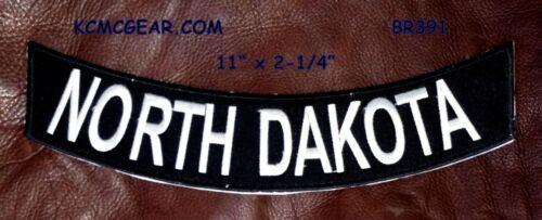 """NORTH DAKOTA White on Black Back Patch Bottom Rocker for Biker Veteran Vest 10/"""""""