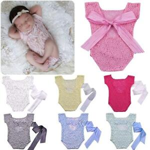 fcac03489 Newborn Baby Girl Lace Romper Jumper Photography Props Bow Back ...