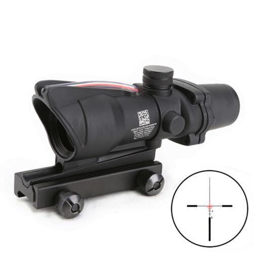 Green Illuminated Rifle Scope ACOG Style 4X32 Real Fiber Optics Sight Red
