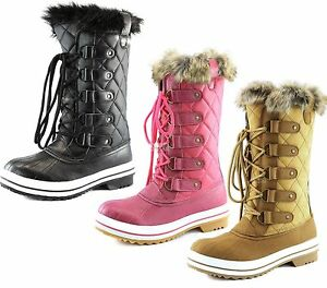 Unique  Lined Quilted Grip Sole Knee High Winter Snow Hiking Boots Size  EBay