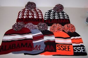 Men's POM POM Boggan Beanie Ski Cap Hat Sweater Knit YOU PICK ALABAMA TENNESSEE
