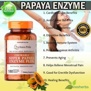 Papaya-Enzyme-Protease-Digestion-Constipation-Lungs-Chewable-Supplement-180-Tabs