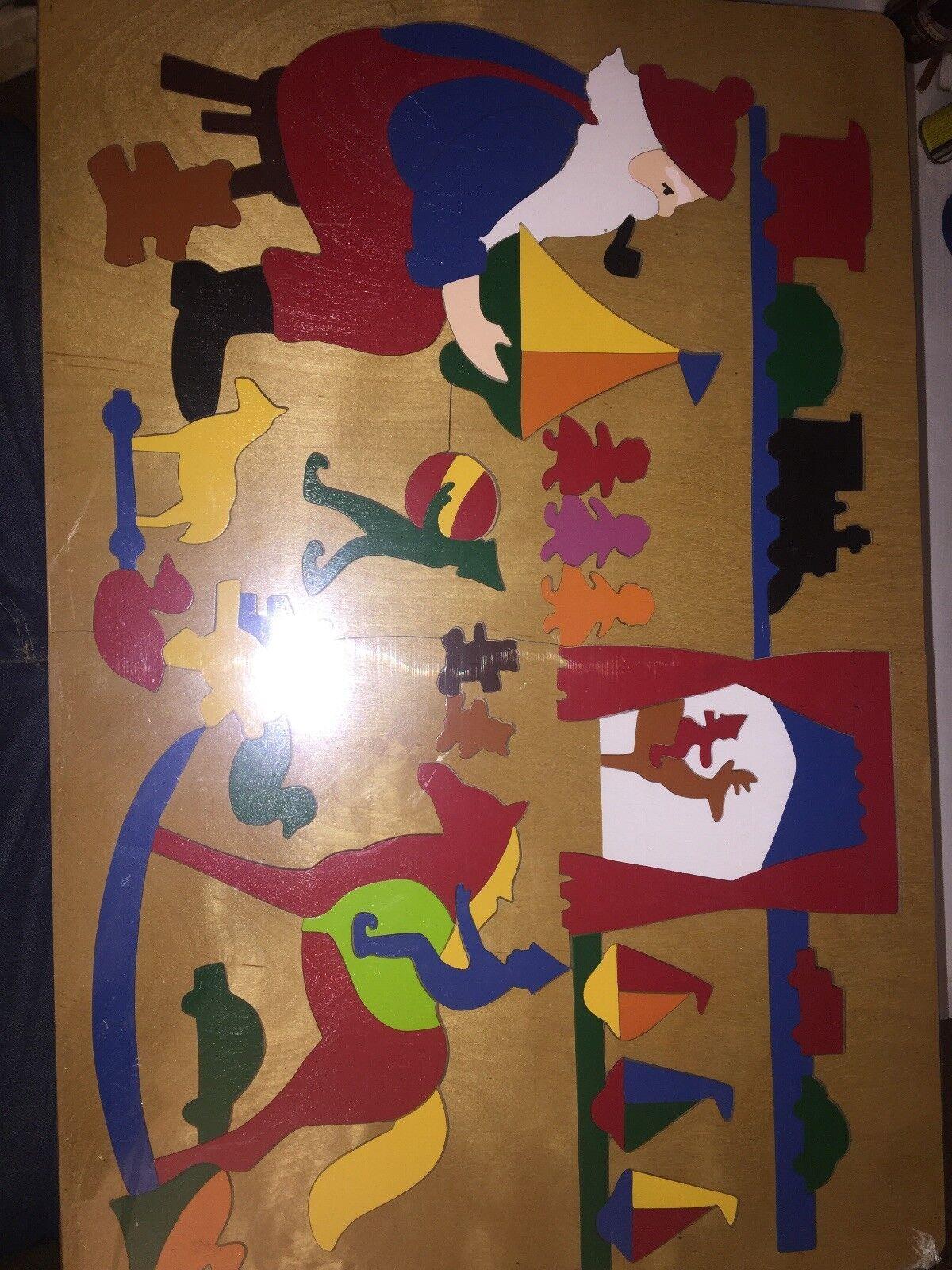 Giant Santas Workshop Wood Puzzle 65 Pieces Folk Art 16x24 Hand Cut And Painted