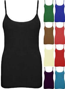 Nuevo-Camiseta-Tirantes-Mujer-Sin-Mangas-Tiras-De-Liso-Elastico-Mini-Camisa