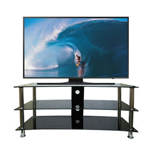 curved tv stand 32 70 inch led lcd 3 black glass shelf chrome television table ebay. Black Bedroom Furniture Sets. Home Design Ideas