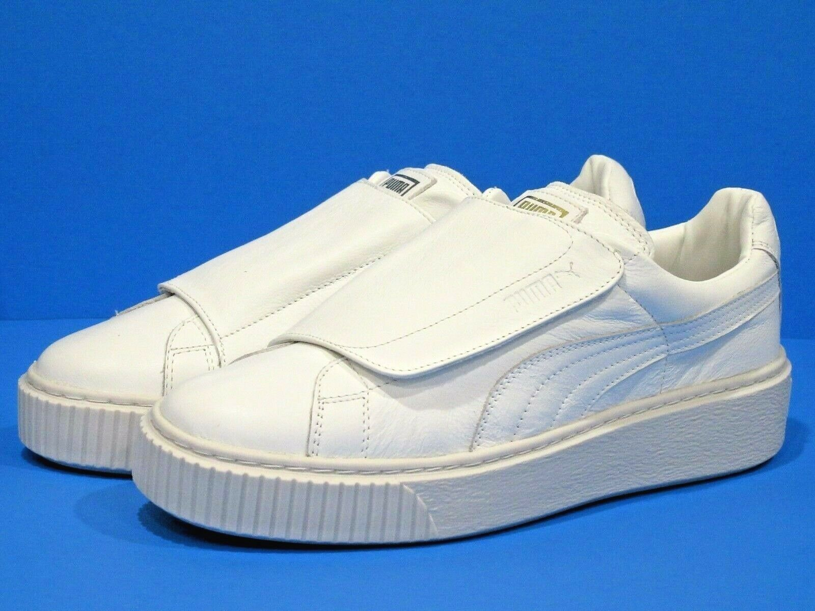 PUMA Women's Basket Platform Strap Wn Sneaker, White, 9 M US