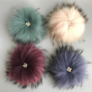 """6/"""" Dusty Pink Large Real Raccoon Fur Pompom Ball W Snap Button Shoes Hat DIY"""