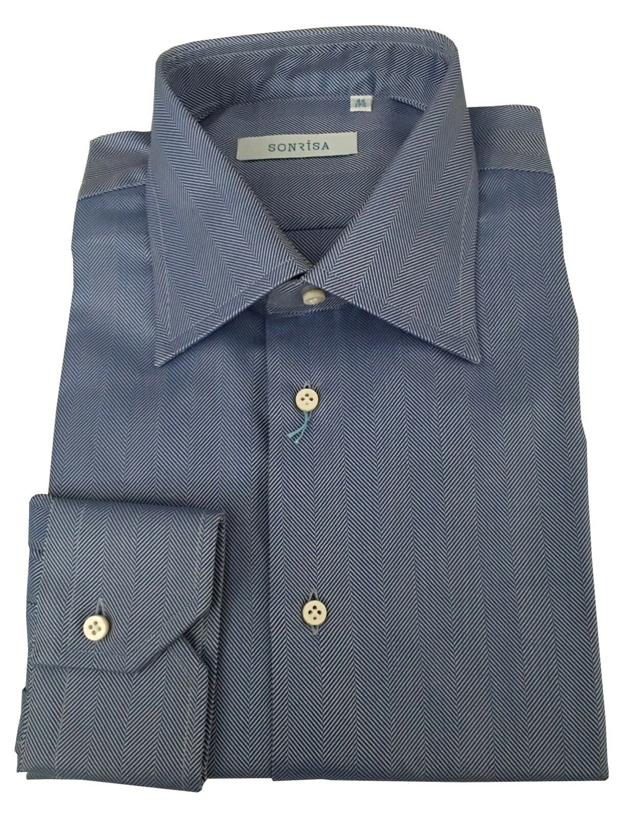SONRISA men's shirts fabric herringbone 100% cotton MADE IN ITALY