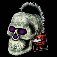 Life Size Gothic Punk Skull Feather Mohawk Led-spooky Color Changing Decoration