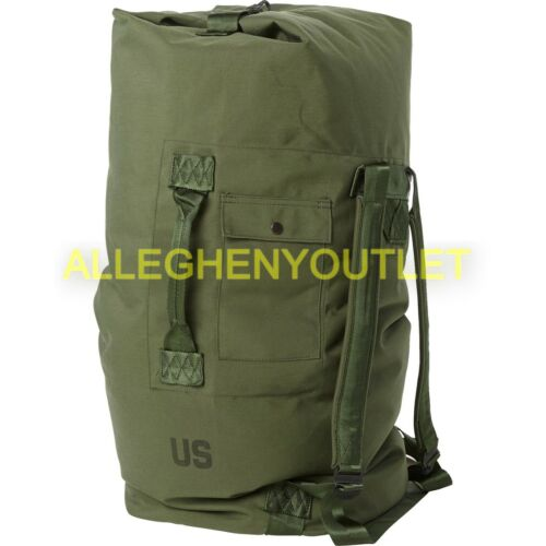 US MILITARY ARMY DUFFLE DUFFEL BAG OD DEPLOYMENT BACKPACK 2 Strap TOP LOAD MINT