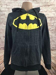 BATMAN-DC-Comics-Full-Zip-Soft-Hooded-Sweatshirt-Gray-Hoodie-Size-M-Men-039-s