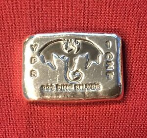 1-oz-Hand-Poured-999-Silver-Bullion-Bar-034-Dragon-034-by-YPS-Yeager-039-s-Poured-Silver